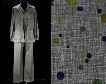 Size 10 Pant Suit - 1970s Bubbles Novelty Print Pantsuit - Long Sleeve 70s Shirt, Vest & Pant - Medium - Kitsch Multi Color Bubbles - 47419