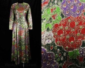 Size 6 Designer Evening Dress - 60s Metallic Bohemian Formal Gown - Puffy Clouds & Daisy Novelty Print - Chester Weinberg - Bust 34 - 48667