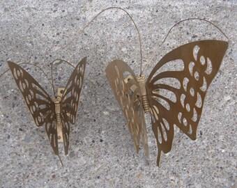 gold metal butterflies set of 2 wall decor garden decor 1970s decor