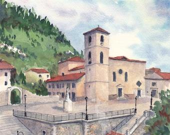 italy watercolor- San Pietro Avellana- art print