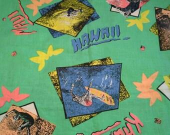 Hawaii Novelty Print on Green Cotton Fabric 1 1/4 Yards X0695