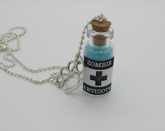Zombie antidote necklace knuckle duster Glass Bottle Vial Necklace  Antidote Antivirus Walking Dead Z nation Zombie Cure