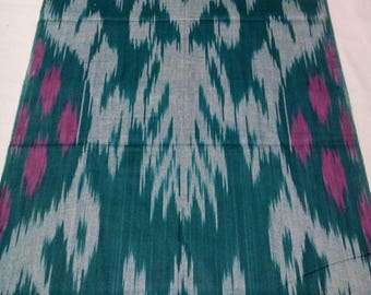 Uzbek handwoven cotton ikat scarf with tassels