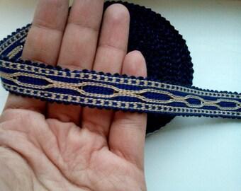 Uzbek handwoven blue cotton trim Jiyak. Tribal ethnic, boho, hippy trim. TR042