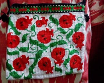 Uzbek silk hand embroidered bag Pomegranates. Cross stitch embroidery