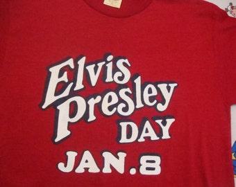 Vintage 70's Elvis Presley Day Jan 8 rockabilly red Rare T Shirt Adult size S