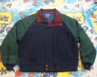 Vintage 90's PENDLETON Lobo Virgin Wool Green and Navy Blue Green Jacket 1990's Size XL