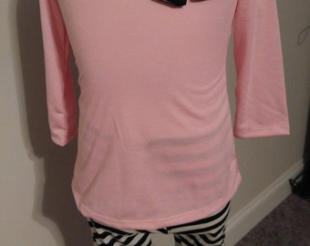 Pink and Black Stripe Outfit | Pink Shirt | Stripe Pants | Summer Outfit | Toddlers outfit | Long Sleeve Outfit |