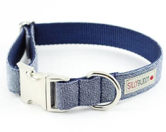 Indigo Herringbone Dog Collar