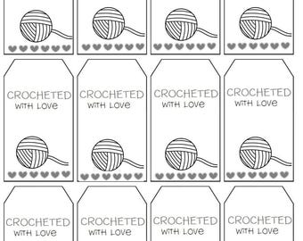 Crochet gift tags printable tags for you crochet knit PDF