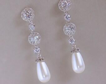 Pearl Drop Earrings, Crystal Wedding Earrings, Silver Bridal Earrings, Crystal Bridal Jewelry, Wedding Jewelry, BRIGITTE SP1