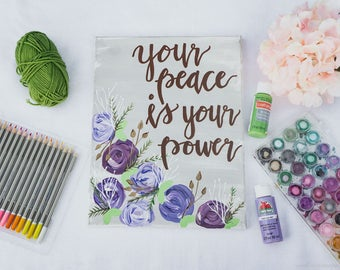Your Peace Is Your Power Canvas Painting - Wall Quotes -Office Decor - Home Decor - Wall Art - Signs - Handpainted Sign - Home and Living