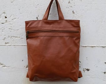 Shoulder bag backpack, Vegan Leather backpack, laptop backpack, student backpack, travel backpack, vegan leather Satchel, brown Rucksack
