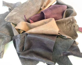 Scrap - leather, Leather pieces, Craft Supplies, Scrap Leather Pieces, Mixed Colours, Scrap Booking, Mix Colors of Leather, leather off cuts