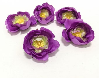 5 PURPLE Ranunculus Buds - Artificial Flowers, Silk Flowers, Flower Crown, Wedding