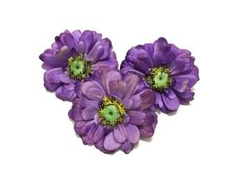 3 Large REAL FEEL Purple Zinnias - Artificial Flowers, Silk Flowers, Hair Accessory, Flower Crown, Wedding Flowers, Millinery, Embellishment