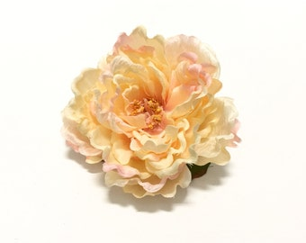 Peach Peony Accented with Pale Pink - 5.5 Inches - Artificial Flower, Silk Flower, Wedding Flower, Hair Accessory, Flower Crown, Millinery