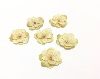 6 Hydrangea Flowers in Banana Yellow with Sparkly CLEAR Rhinestone Brads, Silk Flowers, Artificial Flowers, Hair Accessories, Hat, Millinery