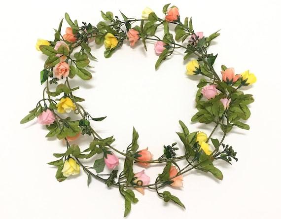 6 Ft Peach Pink Yellow Mini Rose GARLAND- Wedding Crowns ...