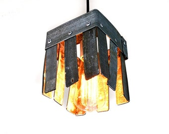 "LOFT V36 -  ""Hexahedron"" - Wine Barrel Pendant Light -100% RECYCLED"