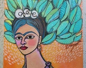 Tree of Life Frida Kahlo - 8×10 acrylic on canvas board