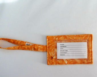 Orange Luggage Tag Travel ID Tag Handmade Fabric Luggage ID Tag Baggage Tag Gift Card Holder Gift for Her Gift for Traveler