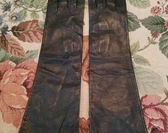 Vintage Grandoe Black Kid Leather Gloves Silk Textile Lining Mid Arm Size 7