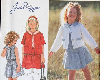 Girls Toddler Size 2 3 4 Jan Briggs Simplicity 7158 Jacket Top and Skirt  Kids Child Children Sewing Pattern Sew Uncut