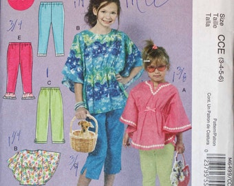 Girls Toddler Kids Size 3 4 5 6 McCalls M6499 BUtterfly Blouse Shirt Top Pants Leggings Slacks  Child Sewing Pattern Sew Uncut