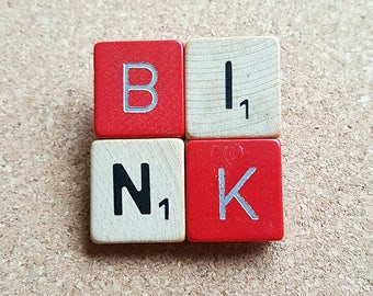 Scrabble brooch BINK which means STUD in Dutch red and wood fun gift original jewellery - free shipping