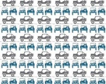 Jeep fabricJeeps in Gray J is for Jeep  by Riley Blake Fabrics Half Yard