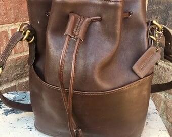 Vintage Coach bag, brown vintage coach purse, pull string boho bag, drawl string leather bag, Coach shoulder bag, Coach bag 9804