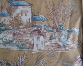"""Pretty 100% Cotton Toile Fabric Sample Scrap 27"""" by 26.5"""" Gold Green Beige Red Country French Industrial Style"""