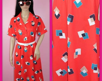 Vintage 1980s Red Button-up Dress with Geometric Shapes