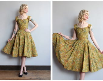1950s Dress Set // Margie Webb Golden Floral Blouse & Skirt // vintage 50s blouse + skirt