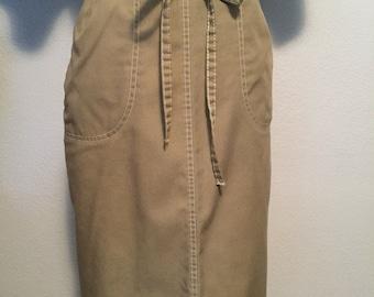 Beige wrap around skirt. Tie front adjustable skirt