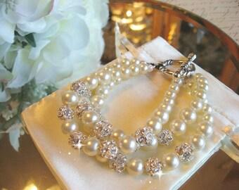 Multi 3 Strand Pearl and Rhinestone Toggle Bridal Bracelet/Triple Strand Bracelet/Cuff Bracelet/Wedding Bracelet/Wedding Jewelry