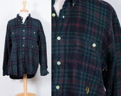 Oversized Fuzzy Soft Flannel Plaid Shirt Jacket * Reworked Green Navy Red Outdoor Preppy Grunge Tartan * Mens Womens Unisex * FREE SHIPPING