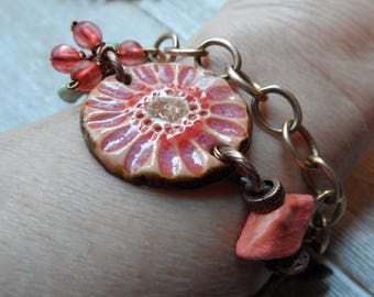 Mixed Media Bracelet  Boho fashion design Pink Flower Happy Bright Patina Bird Charm