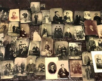 Big Lot of ** 85 ** Antique Tintype Photos from Waco & Bexar Texas Estate