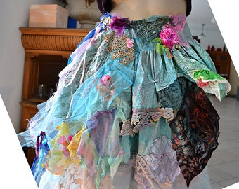 Beautiful Unique Art To Wear Lovely Romantic and Wild Skirt ANTOINETTE'S BLUES Fairy Cinderella Boho Hipie Tattered