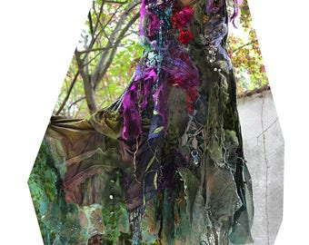 Reserved Unique  Art To Wear Deep Forest Velvet and Lots of Silks Dress  Undine Swamp UGLY  DRESS Fairy Leaves  Antoinette Tattered Gipsy