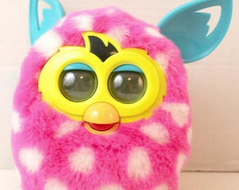 Vintage animated furby toy polka dot pink