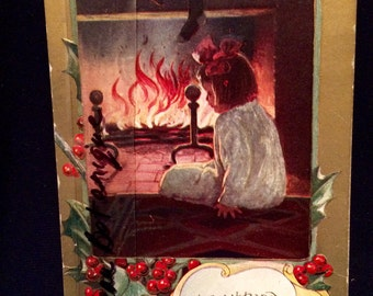 Victorian Christmas Postcard - Girl by Fireplace - Illustration - 1910