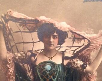 Antique French Photo Postcard - Belle Époque Woman - Miss Robinson - Alcazar D'Ete - Walery - Vintage Photo