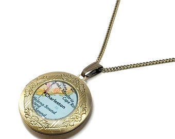 Charleston, South Carolina 1956 Vintage Map Locket. Ready To Ship. Charleston Map Pendant Necklace. Gift Ideas For Her. Mothers Day. Women