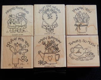 Rubber Stamps - Thank you -Get Well Soon - Horray for You- Stampin Up -  WM rubber stamp  (set of 6)