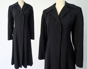 1940s Black Gabardine Coat / Vintage Trench Coat