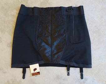 DEADSTOCK 1960s Real-form Open Bottom Girdle / Vintage Black Plus Size Pin Up Undergarment