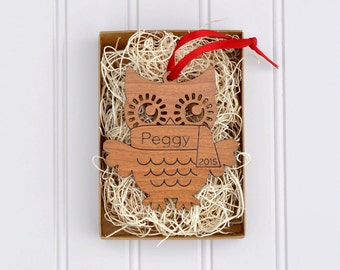 Wooden Owl Ornament Personalized Baby's First Christmas